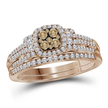 14kt Rose Gold Womens Round Cognac-brown Colored Diamond Bridal Wedding Engagement Ring Band Set 1/2 Cttw