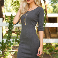 Maison Ribbed Dress - Grey