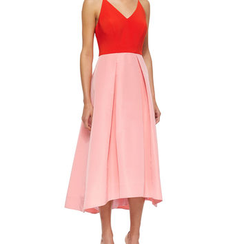 Women's Halter Colorblock Fit & Flare Dress - Phoebe by Kay Unger - Pink multi