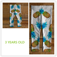 Girls' leggings Happy baby leggings White babyleggings Colourful pineapple baby leggings Print On Demand product Baby leggings