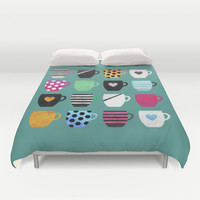 Coffee cup collection / 2 Duvet Cover by Elisabeth Fredriksson