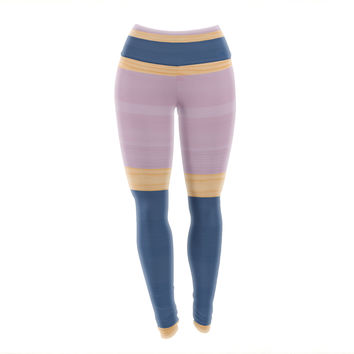 "KESS Original ""Spring Swatch - Blue Lavender"" Purple Wood Yoga Leggings"