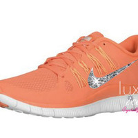 NIKE run free 5.0 running shoes w/Swarovski Crystals detail - Orange/white