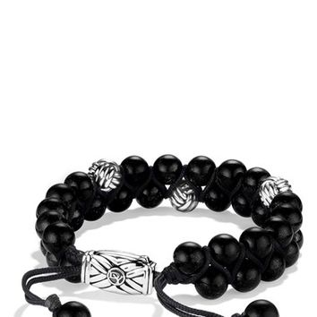 Men's David Yurman 'Spiritual Beads' Two-Row Bracelet with Onyx