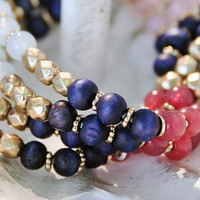 Unique Multi-Strand Stretch Bracelet - Boho - Gold, Dark Plum, Pink, Auburn, White