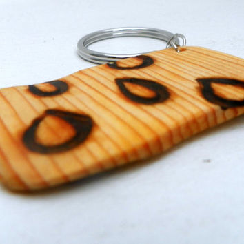 Rain Drop Nature Inspired OOAK Key Ring ReCycled Wood