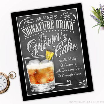Wedding Decoration | Signature Drink Sign | Personalized, Custom Rehearsal Dinner, Reception Keepsake Gift | The Groom's Cake Cocktail