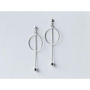 Lady's REAL. 925 Sterling Silver Jewelry Open Circle & Round BAll Straight Bar Geometric Long Earrings dANGLE GTLE1504