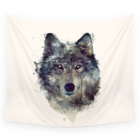 Society6 Wolf // Persevere Wall Tapestry
