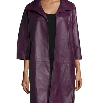 Open-Front Long Leather Jacket, Mulberry