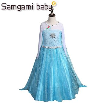 SAMGAMI BABY 2017 Summer Style Girl Dress Princess Elsa Dress Children Halloween Snow Queen Cosplay Costume Baby Toddler Kids
