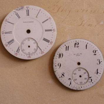 Steampunk Supplies Vintage Porcelain Pocket Watch Faces Waltham Elgin