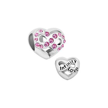 Heart Charm Pink Crystal Infinity Love Bead Pandora Charms Bracelet Compatible