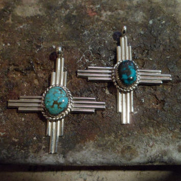 Authentic Navajo Native American Southwestern sterling silver turquoise Zia sun symbol pendant/necklace.