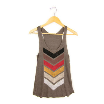 Geo Chevron Racerback Hand Stenciled Slouchy Scoop Neck Swing Tank Top in Heather Brown and Fire - Women's XS S M L