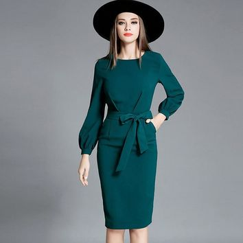 High quality 2016 new runway autumn dress women O-neck lantern sleeve elegant brand slim dresses bow ties design vestidos