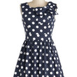 ModCloth Pinup Short Length Sleeveless Fit & Flare The Pennsylvania Polka Dress in Navy Dots