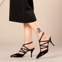 Pointed Toe Patent Leather Stiletto Heel Gladiator Sandals 5669