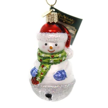Old World Christmas JINGLE BELL SNOWMAN Glass Ornament Mittens Scarf 24186.