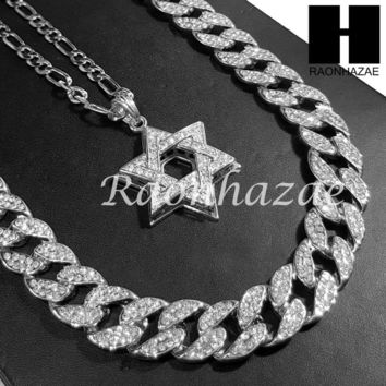 "14k White Gold Star of David Pendant 15mm Iced Out Miami Cuban 30"" Necklace 196S"