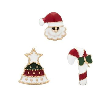 3Pcs/Set Gifts Pins And Brooches For Women snowman crutches Brooch Female Bijoux