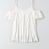AEO Soft & Sexy Cold Shoulder Top, Natural White
