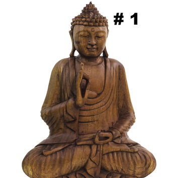 Buddha Statue Sitting in Vitarka Mudra Pose Hand Carved in Suar Wood 12""