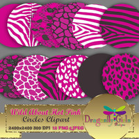 "80% OFF Sale WILD About Hot Pink 8"" Clip Art, commercial use, digital scrapbook papers, vector graphics, printable, Instant Download,"