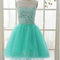 Stock Long/Short Formal Aqua Ball Gowns Evening Homecoming Prom Dress Size 6-16