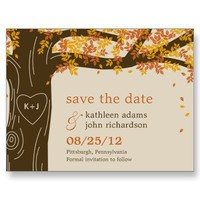 Oak Tree Fall Wedding Save The Date Postcard from Zazzle.com