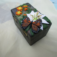Jewelry box, flowers and butterfly. Colorful box. Unique gift for lovely person.