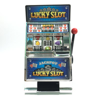 Free Shipping 1Piece Casino Lucky Slots Jackpot Mini Slot Machine Bank with Spinning Reels
