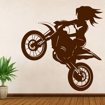 Vinyl Decal Motorsports  Wall Sticker Girl Rider a Bike Stunt Decor Living Room  (n383)