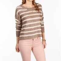Mocha/Ivory Hi Lo Sequin Stripe Sweater