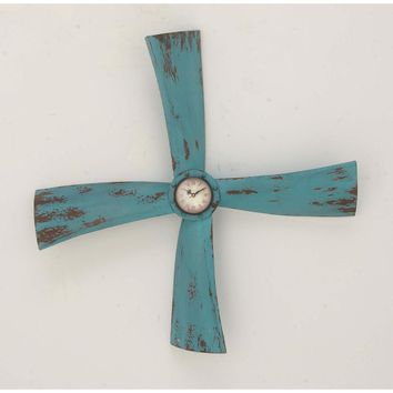 Tarnished Prop Wall Clock, Turquoise - 84231 by Benzara