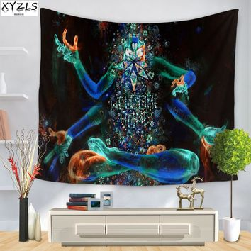 XYZLS Wall Tapestry 150*200cm Hippie Tapestry Creative Pattern The Starry Night Beach Towel Yoga Mat Sofa Cover 150*130cm