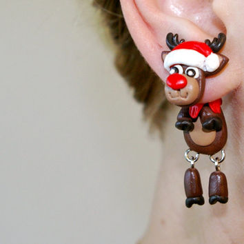 Christmas reindeer dangling earrings, fake gauge deer , Xmas moose, elk two part earrings, child gift, front back ,Unique faux gauge,unusual