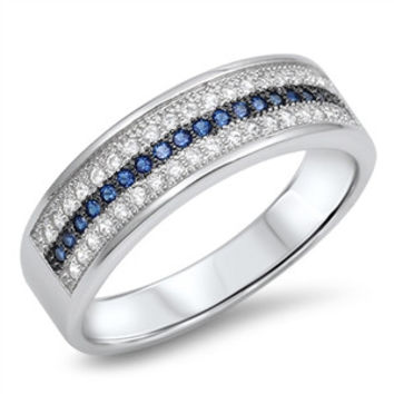 925 Sterling Silver CZ Simulated Diamond and Simulated Sapphire Three Rows Pave Ring 7MM