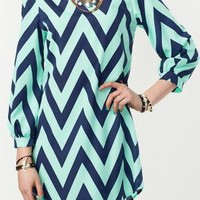 Aqua Navy Chevron Dress