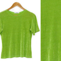 Vintage Shirt~Size Small/Medium/Large~80s 90s Neon Green Stretchy T-Shirt~By Fiore