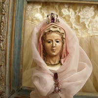Vintage pink Virgin Mary statue Lace rhinestones Mother of Jesus weeping Madonna distressed gold lace pedestal