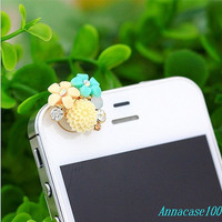 Blue yellow  Rose Crystal Pearl Anti Dust Plug 3.5mm Smart Phone Dust Stopper Earphone Cap Headphone Jack Charm iPhone 4 4S 5 HTC Samsung