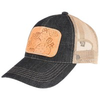 Ladies Tooled Leather Cactus Cap