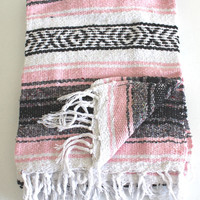 LIGHT PINK Mexican Blanket Beach Blanket Vintage Style
