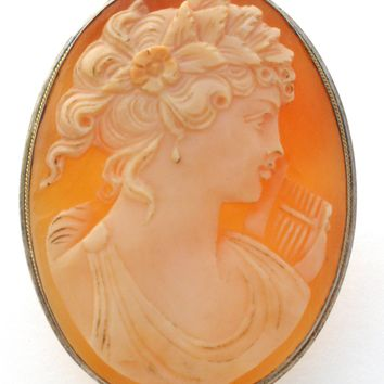 Hand Carved Cameo Brooch by Gennaro Boriello