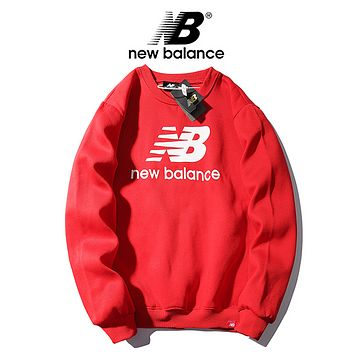 New Balance New fashion bust letter couple hooded long sleeve sweater top Red