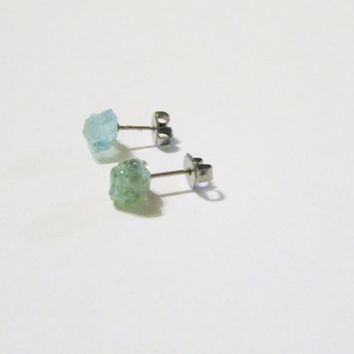 Madagascar Apatite Raw Rough Natural Stone Post Earrings | Apatite Studs | Blue Green Earrings | ap004 | Gemstone Posts | Christmas Gift