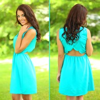 Scalloped So Sweetly Dress in Jade