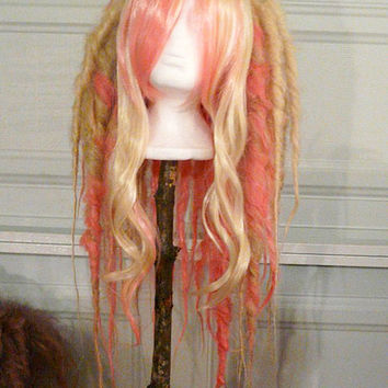 Pink & Blonde Full Dread WIG Hair Art cyber goth punk hippie boho gypsy festival circus rave raver cosplay comic con anime japan huge playa