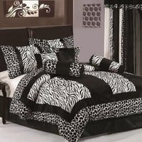 Chezmoi Collection 8-Piece Black and White Micro Fur Zebra with Giraffe Design Comforter 90-Inch by 92-Inch Bed-in-a-bag Set, Queen Size Bedding